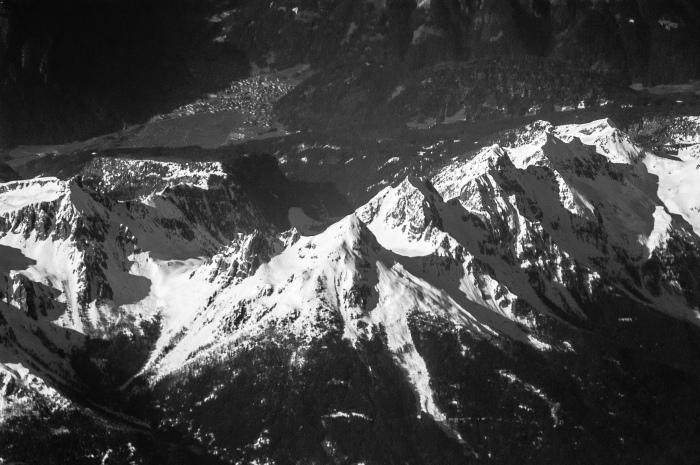 Mountain range seen from airplane window