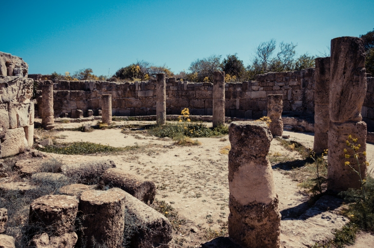 Roman latrines at the gymnasium complex at Ancient Salamis in Cyprus