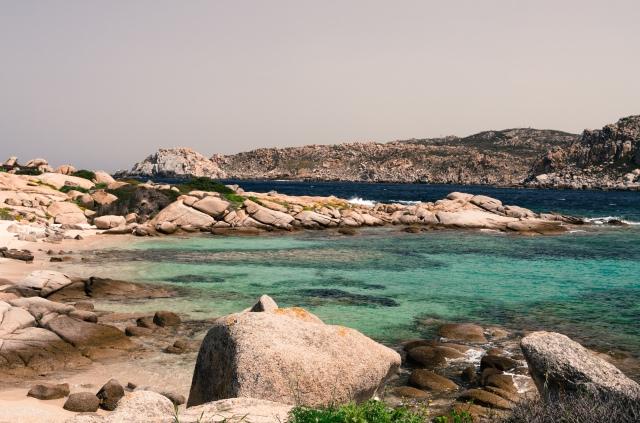 A rocky beach shot at Spiaggia di Cala Spinosa in Sardinia