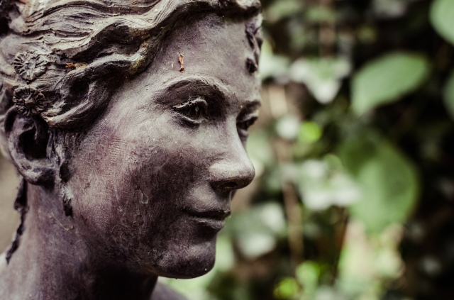 A close up of a woman's face - she's a statue!
